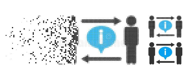 Icône tramée rompue d'échange de l'information d'hommes de Pixelated illustration stock