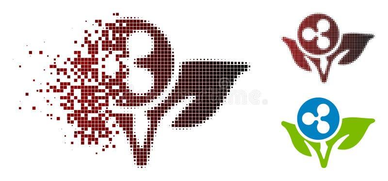 Icône tramée rompue de démarrage de pousse d'ondulation de pixel illustration de vecteur
