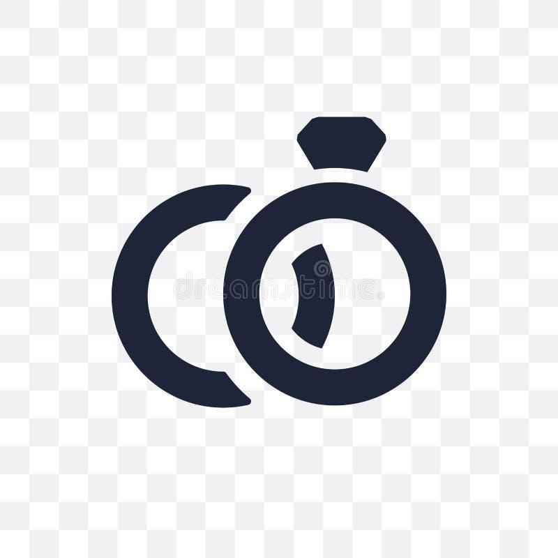 Icône transparente d'anneaux de mariage Conception de symbole d'anneaux les épousant de illustration stock
