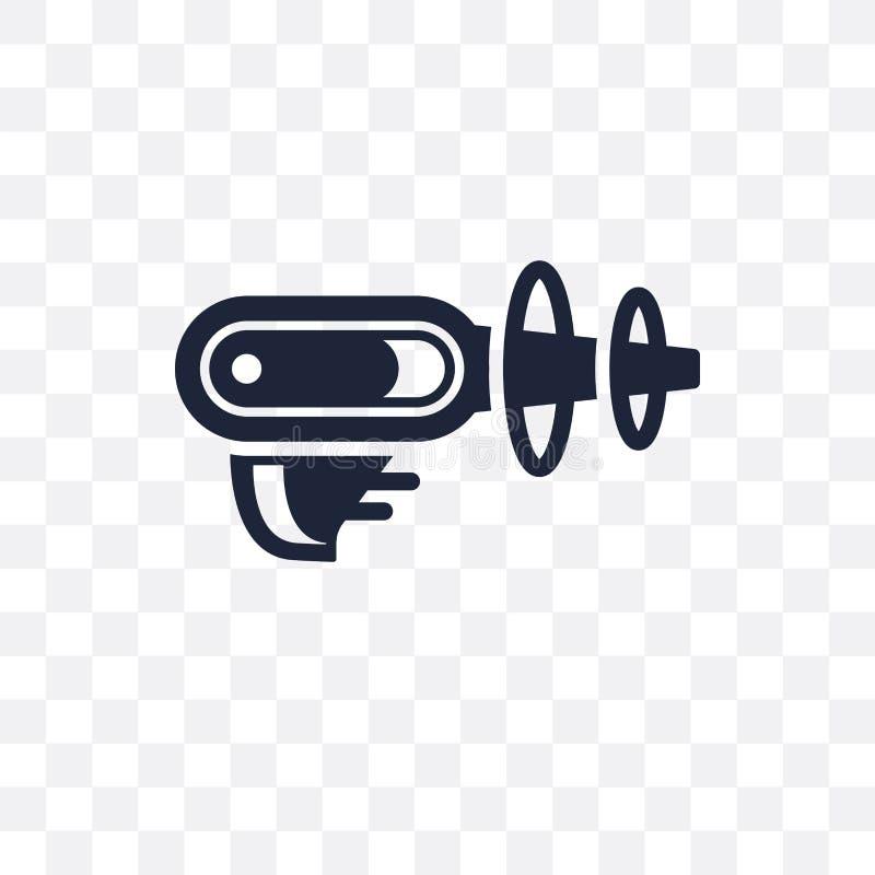 Icône transparente d'arme à feu de l'espace Conception de symbole d'arme à feu de l'espace d'Astrono illustration de vecteur