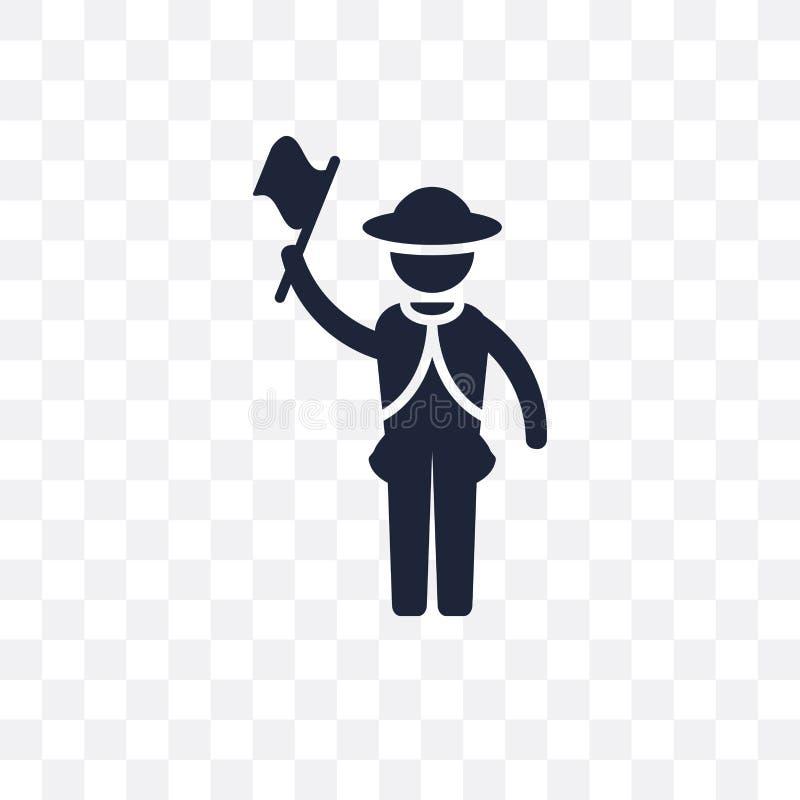 Icône transparente de guide Conception de symbole de guide de col de professions illustration stock