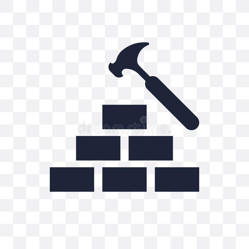 Icône transparente de marteau de brique Conception de symbole de marteau de brique de C illustration stock
