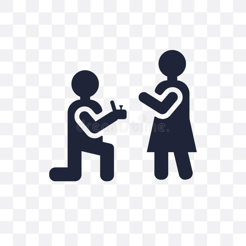 Icône transparente de proposition Conception de symbole de proposition du mariage a illustration libre de droits