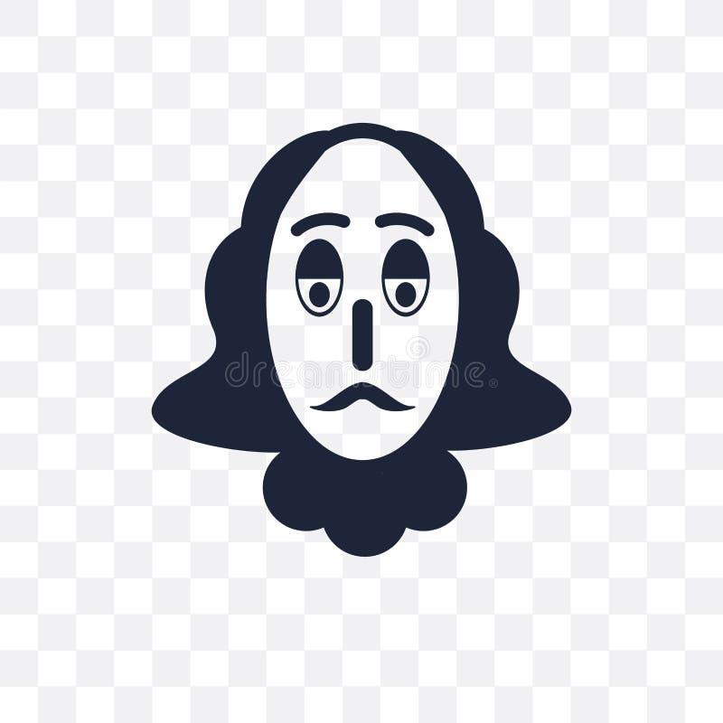 Icône transparente de Shakespeare Conception de symbole de Shakespeare de Cin illustration de vecteur