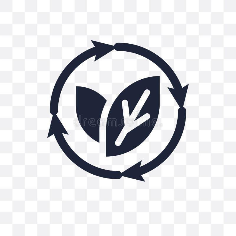 Icône transparente renouvelable Conception renouvelable de symbole de l'écologie illustration de vecteur
