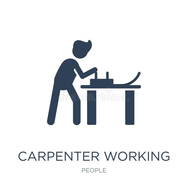 icône travaillante de charpentier dans le style à la mode de conception icône travaillante de charpentier d'isolement sur le fond illustration libre de droits