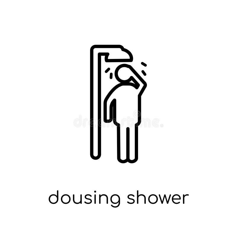 Icône trempante de douche Tremper linéaire plat moderne à la mode de vecteur SH illustration de vecteur