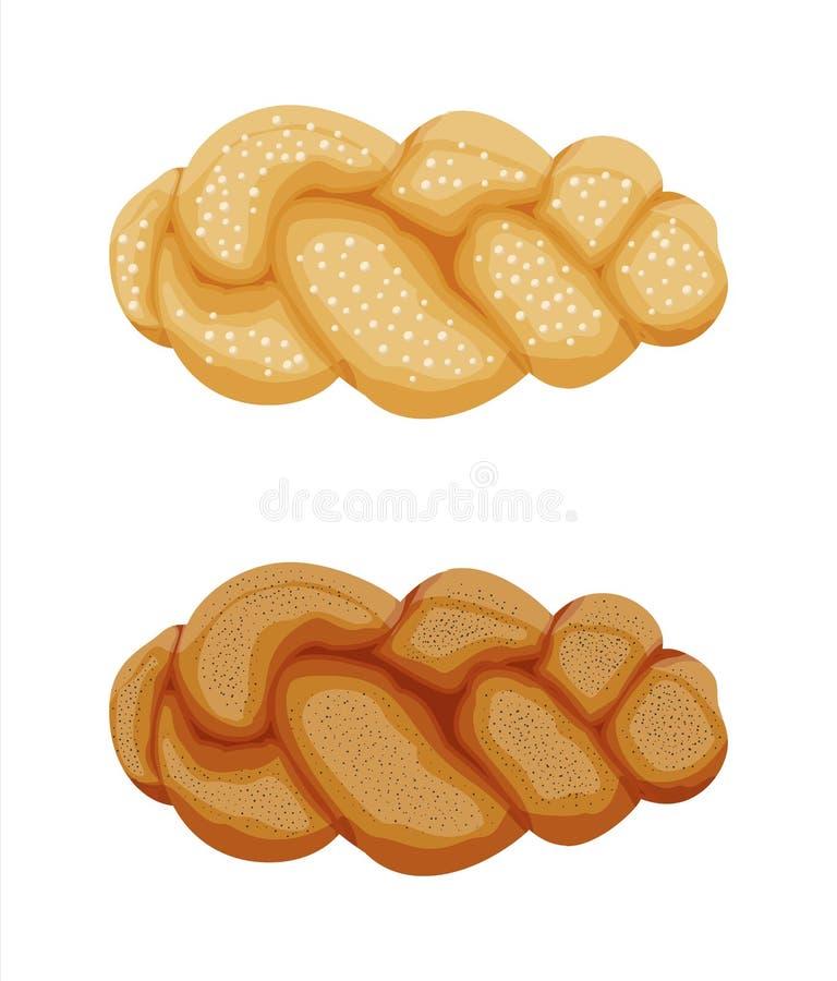 Icône tressée de petit pain de pain illustration de vecteur