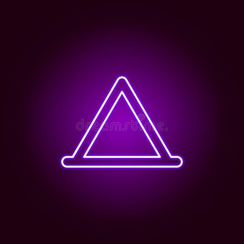 icône triangulaire d'ensemble de tente dans le style au néon Éléments d'illustration de réparation de voiture dans l'icône au néo illustration libre de droits