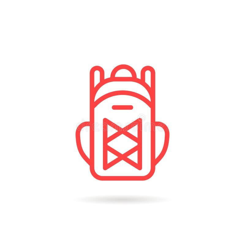 Icône unisexe linéaire rouge de sac à dos illustration de vecteur