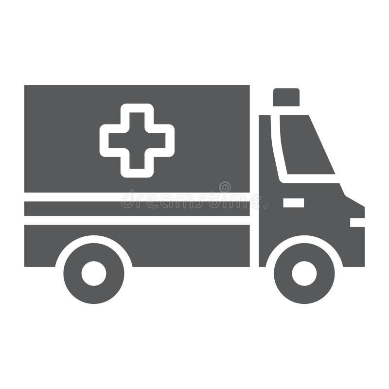 Icône, urgence et hôpital de glyph d'ambulance illustration stock