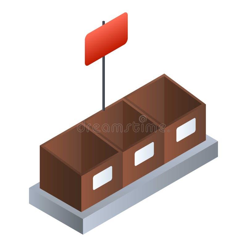 Icône végétale de boîte de supermarché, style isométrique illustration stock