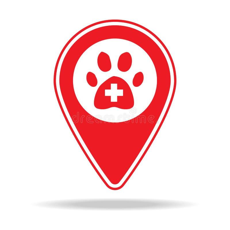icône vétérinaire de goupille de carte de soin Élément d'icône d'avertissement de goupille de navigation pour les apps mobiles de illustration de vecteur