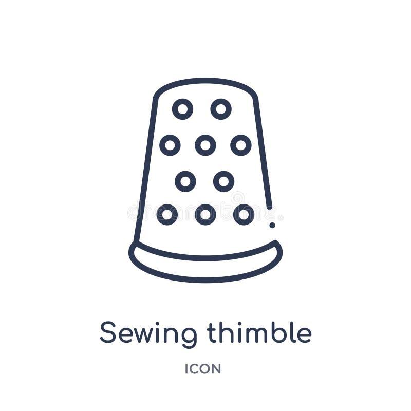 icône variable noire de couture de dé de collection d'ensemble d'outils et d'ustensiles Ligne mince icône variable noire de coutu illustration de vecteur