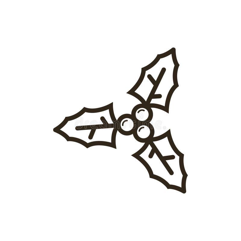 Icône vecteur d'ensemble de schéma de branche d'ilex illustration stock