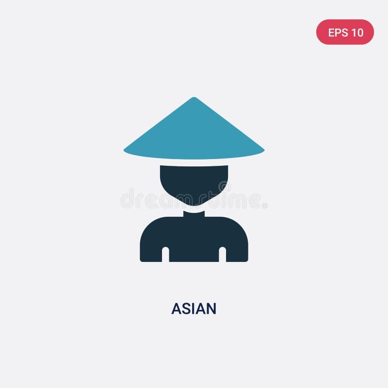 Icône vectorielle asiatique en deux couleurs du concept de la nature le symbole vectoriel de l' asie bleue isolée peut être utili illustration stock