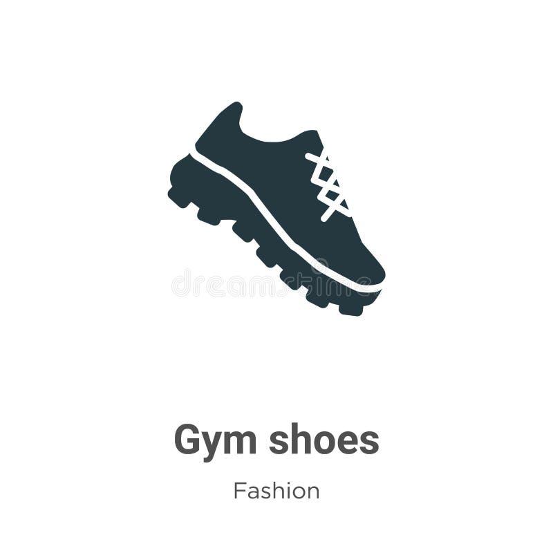 Icône vectorielle des chaussures de gym sur fond blanc Symbole de l'icône des chaussures de sport vectorielles plats de la collec illustration stock