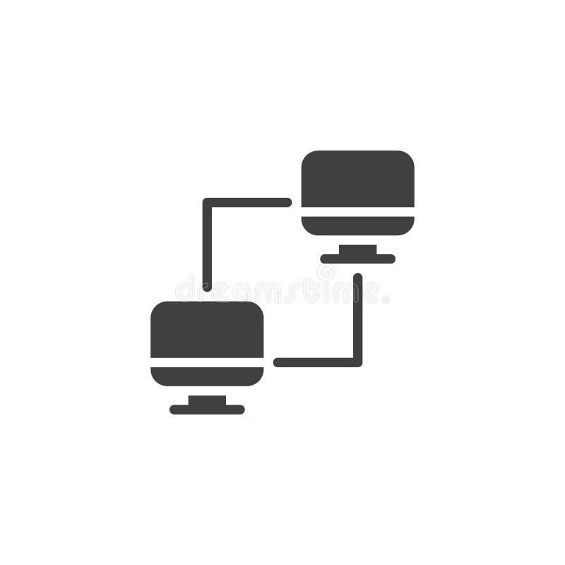 Icône vectorielle des ordinateurs connectés illustration de vecteur