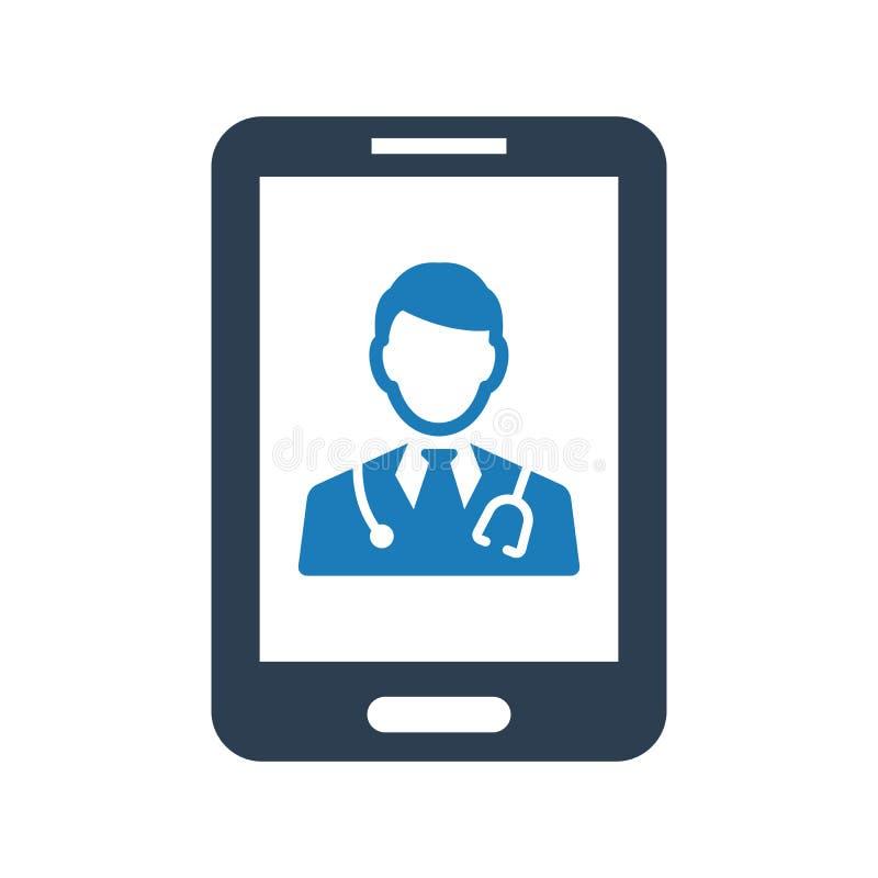 Icône vectorielle du médecin mobile illustration libre de droits