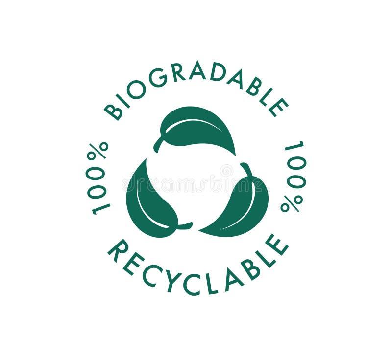 Icône vectorielle recyclable biodégradable Logo 100 % bio-recyclable et dégradable de paquets Biodégradable illustration libre de droits