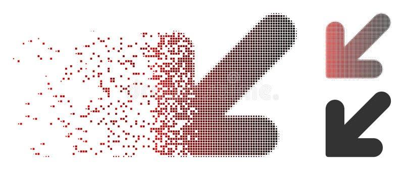 Icône vers le bas laissée tramée de flèche de pixel mobile illustration stock