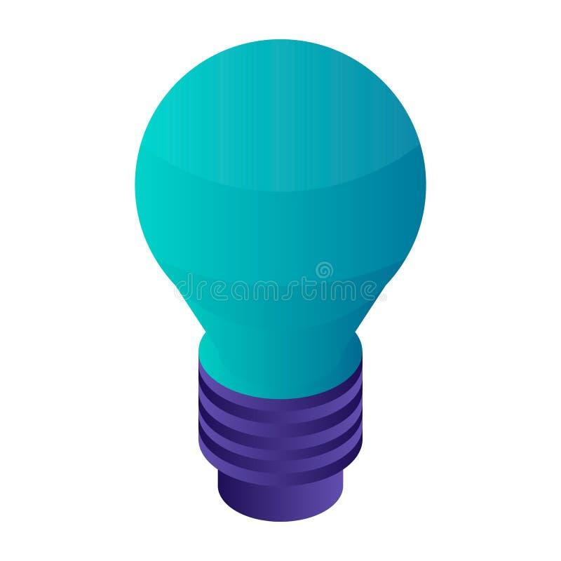 Icône verte d'ampoule, style isométrique illustration de vecteur