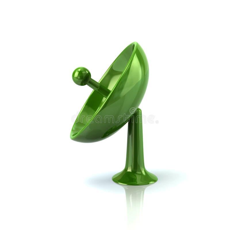 Icône verte d'antenne de satellite illustration de vecteur