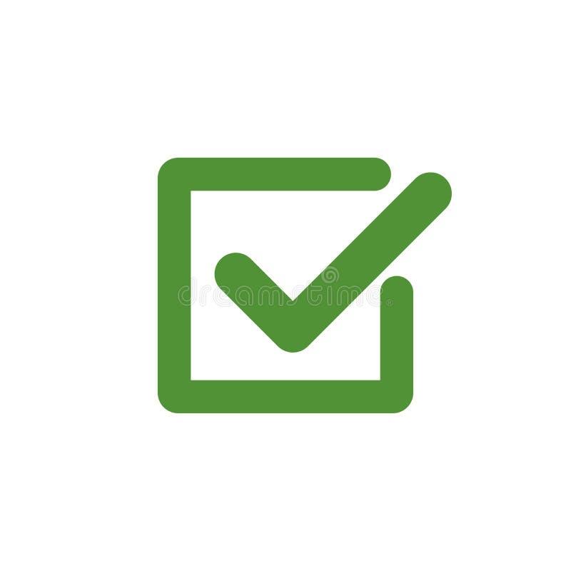 Icône verte de coche dans une boîte Symbole de coutil dans la couleur verte, illustration de vecteur illustration de vecteur