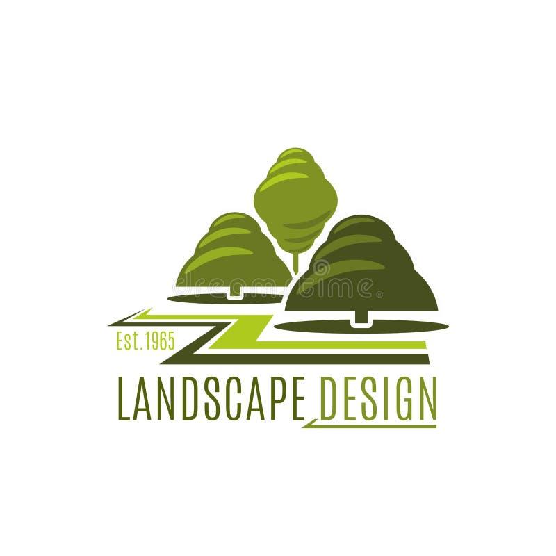 Icône verte de conception de paysage de vecteur de jardin d'arbres illustration stock