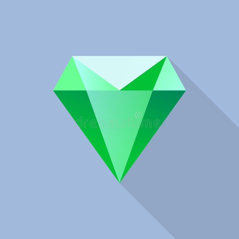 Icône verte de diamant, style plat illustration libre de droits