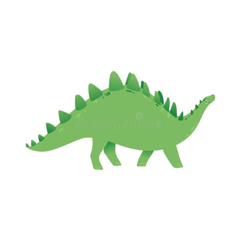 Icône verte plate de Dino de stegosaurus éteint de vecteur illustration libre de droits