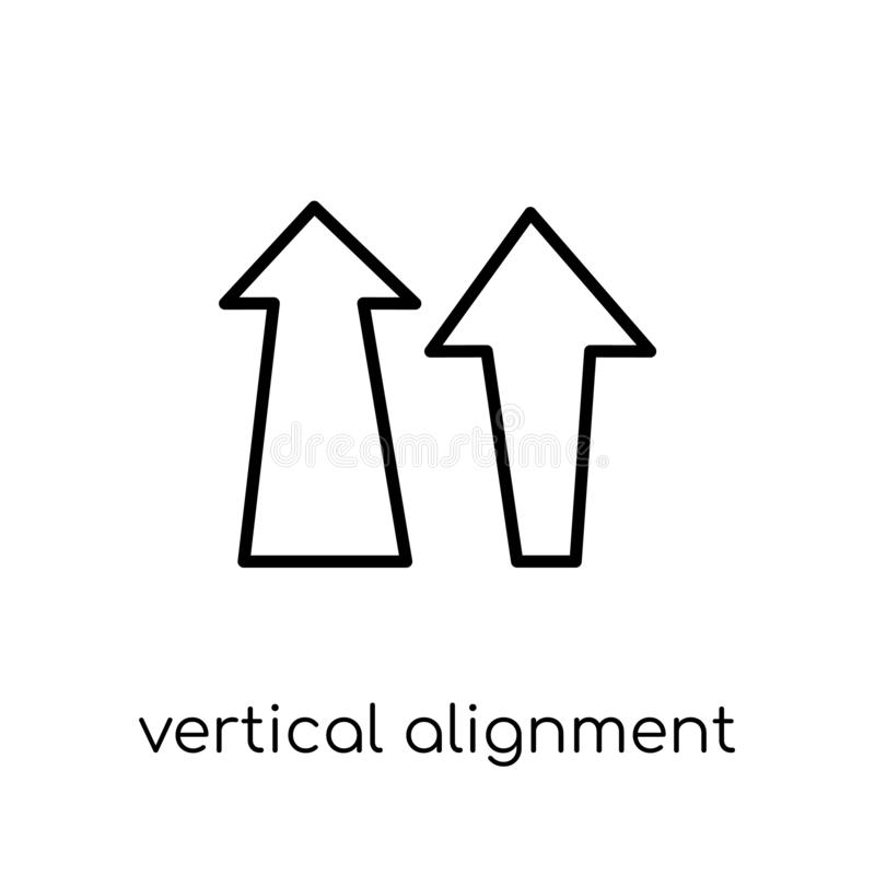 Icône verticale d'alignement Vecteur linéaire plat moderne à la mode vertic illustration stock