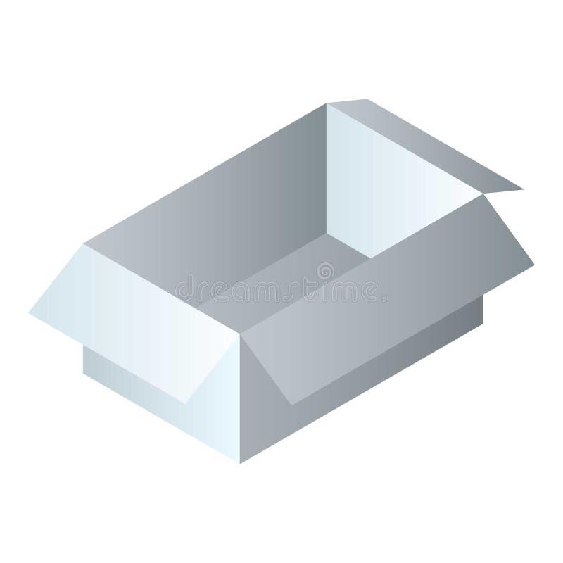Icône vide de boîte de carton, style isométrique illustration stock