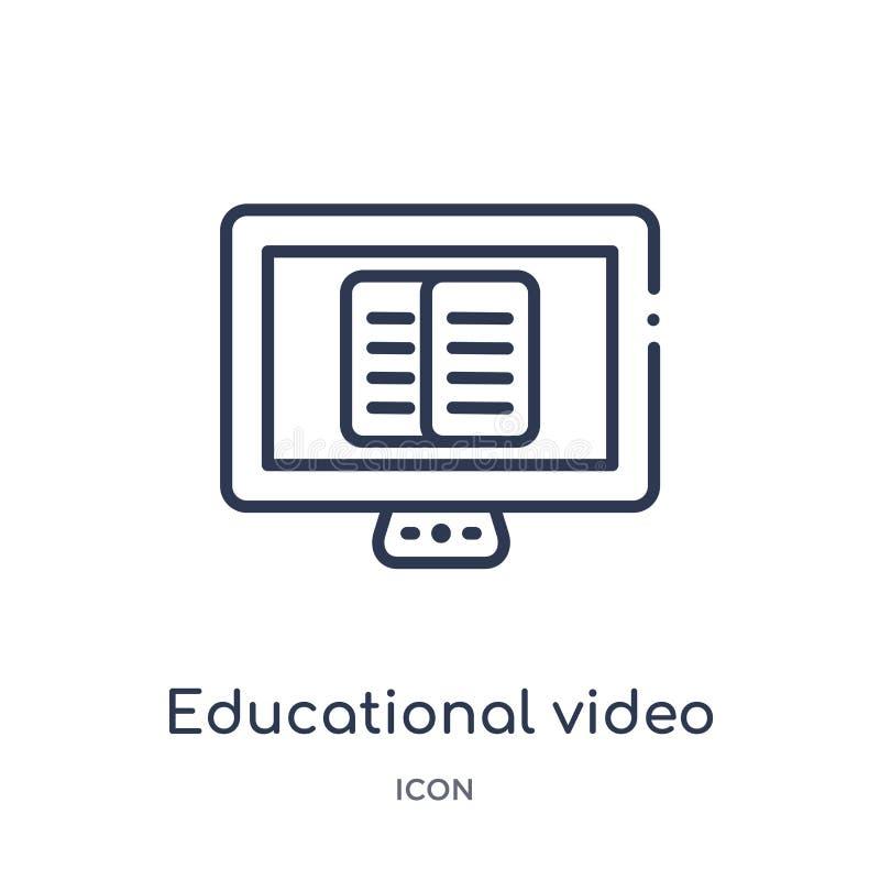 Icône visuelle éducative linéaire de collection d'ensemble d'éducation Ligne mince vecteur visuel éducatif d'isolement sur le fon illustration libre de droits