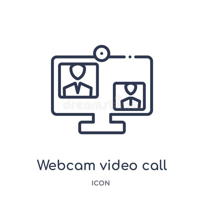 Icône visuelle d'appel de webcam de la musique et de la collection d'ensemble de médias Ligne mince icône visuelle d'appel de  illustration de vecteur