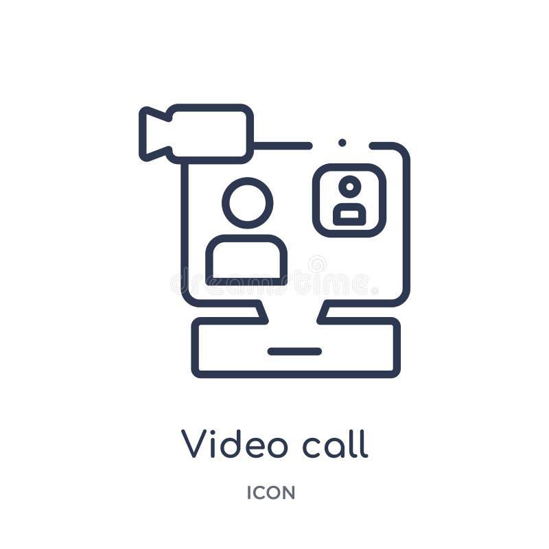Icône visuelle linéaire d'appel de collection d'ensemble de service à la clientèle Ligne mince vecteur visuel d'appel d'isolement illustration libre de droits
