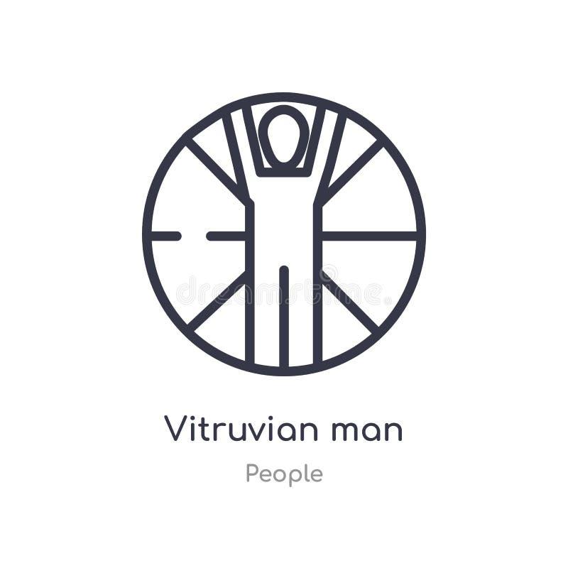icône vitruvian d'ensemble d'homme ligne d'isolement illustration de vecteur de collection de personnes icône vitruvian d'homme d illustration stock