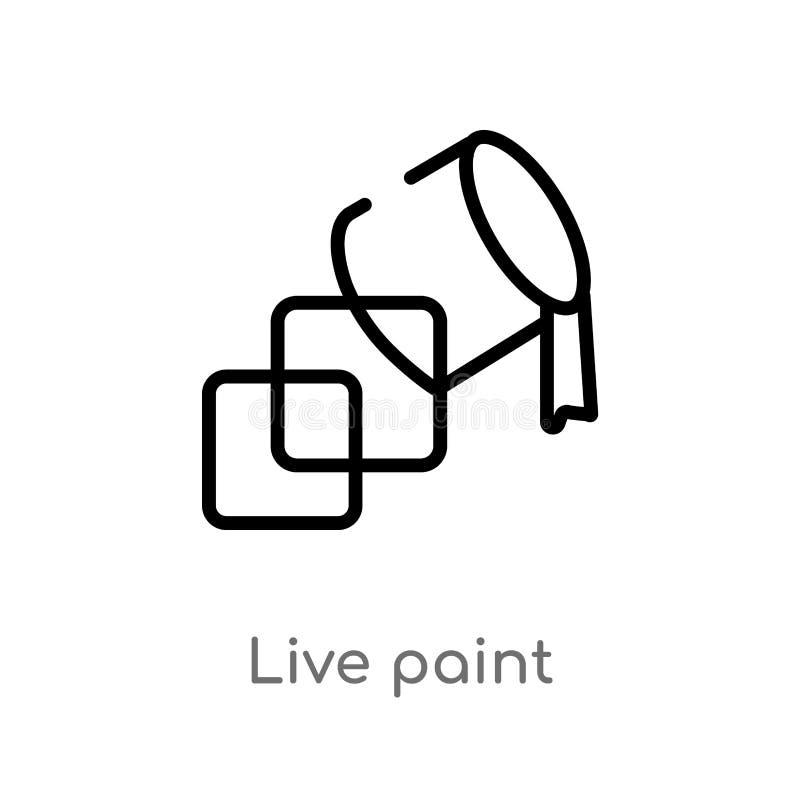 icône vivante de vecteur de peinture d'ensemble ligne simple noire d'isolement illustration d'élément de notion générale course e illustration stock