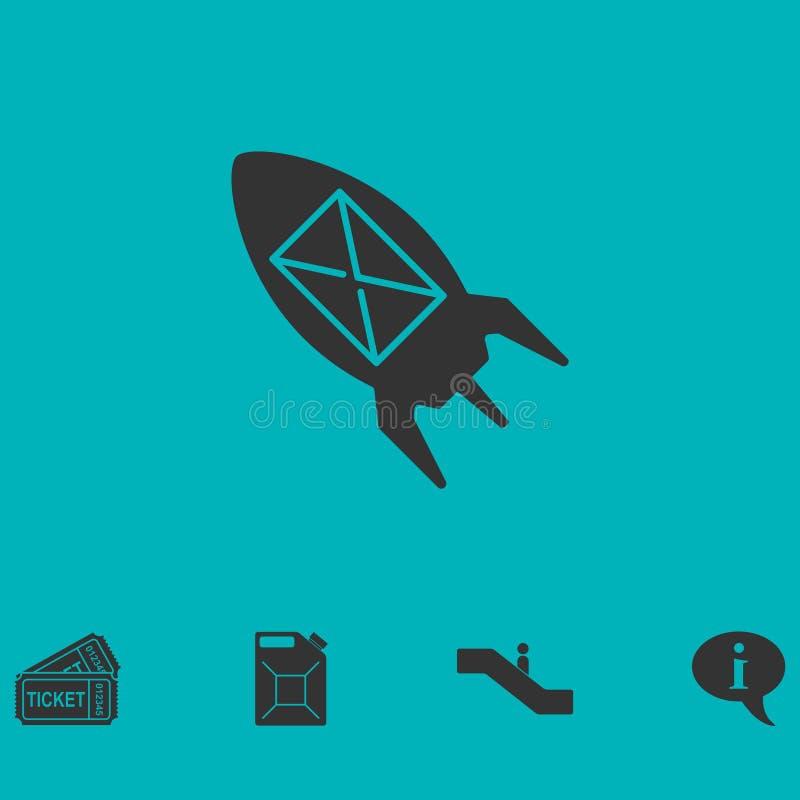 Icône volante de message à plat illustration libre de droits