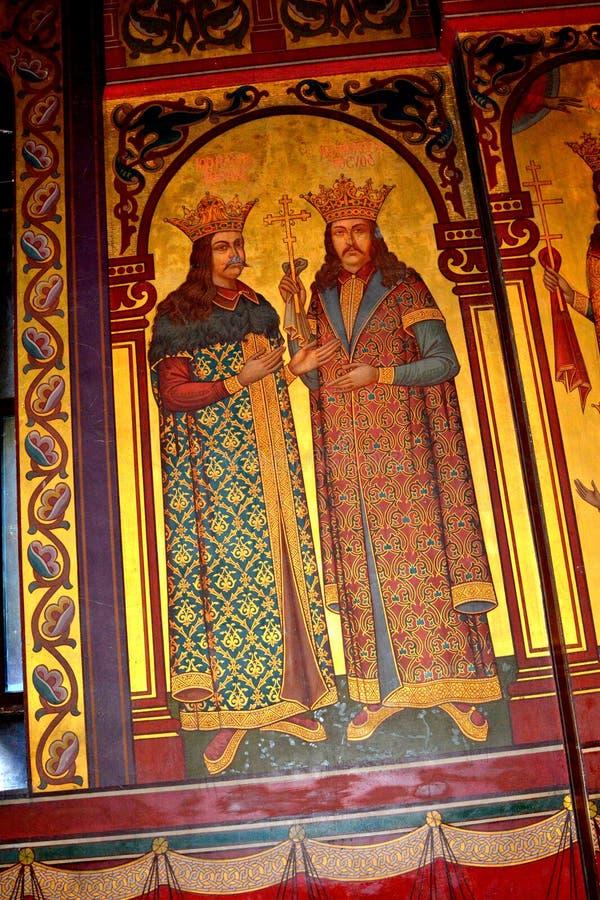 Icônes à l'intérieur de la cathédrale du début du 16ème siècle de Curtea de Arges photos libres de droits