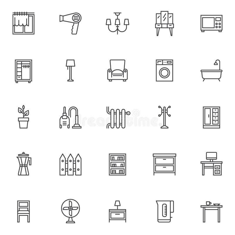 Icônes à la maison d'ensemble d'accessoires réglées illustration de vecteur