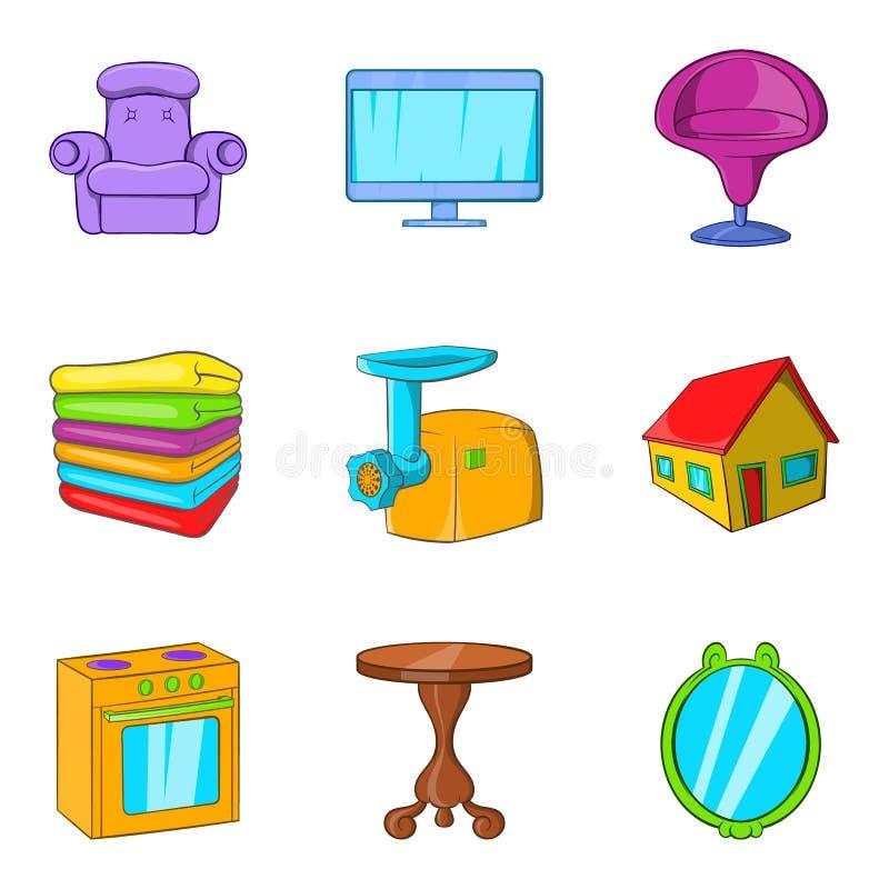 Icônes à la maison douces réglées, style de bande dessinée illustration libre de droits