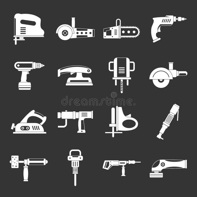Icônes électriques d'outils réglées grises illustration stock