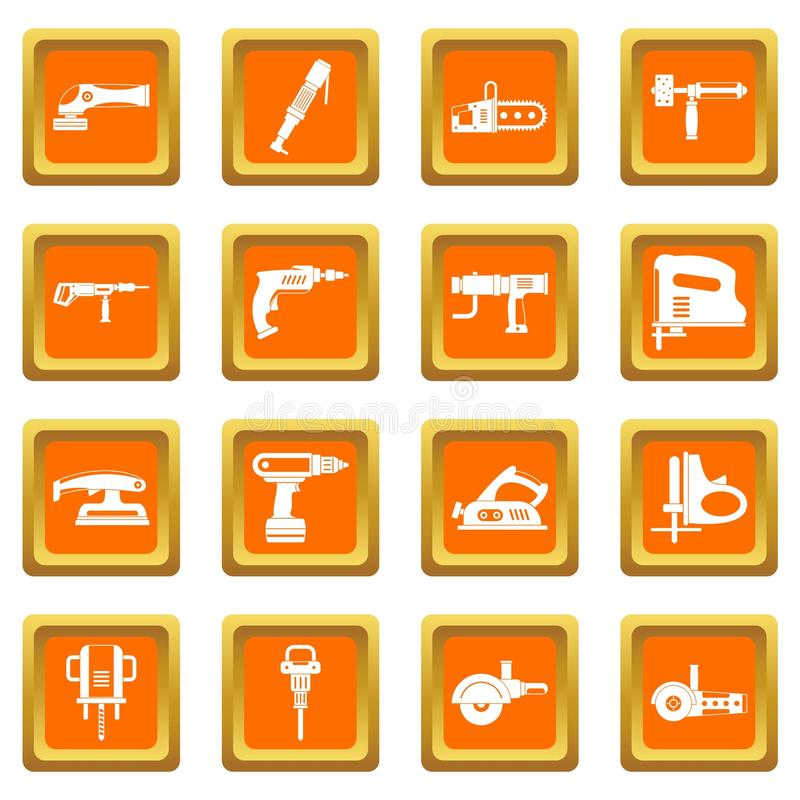 Icônes électriques d'outils réglées oranges illustration de vecteur