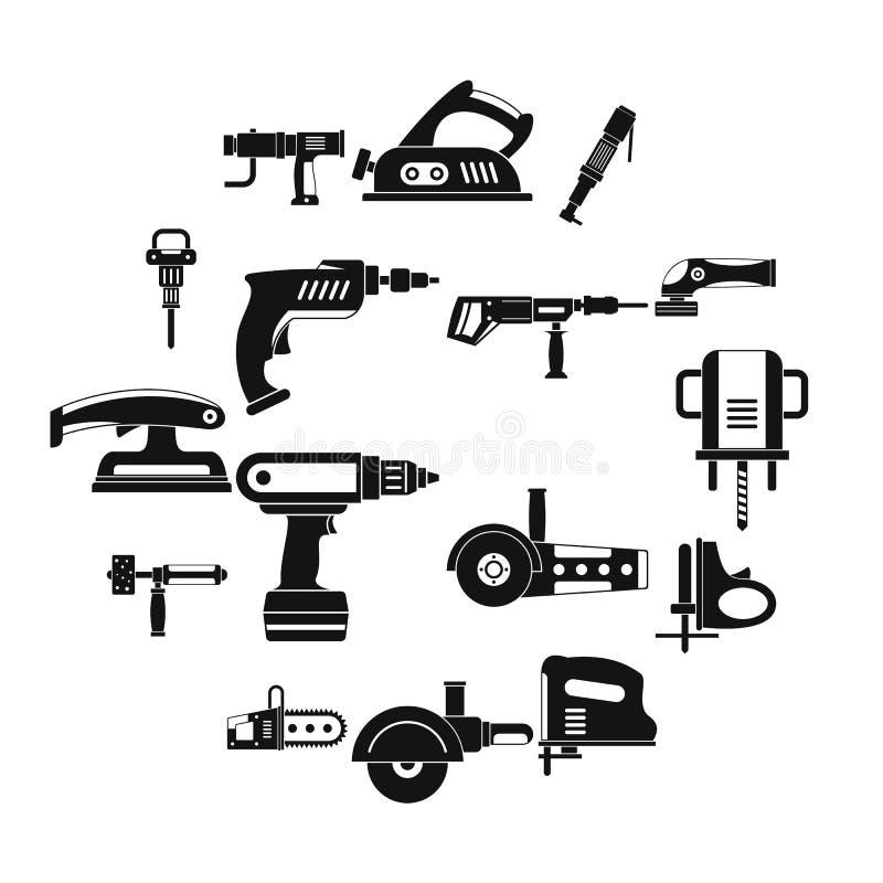Icônes électriques d'outils réglées, style simple illustration de vecteur