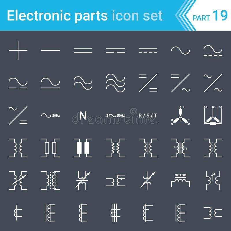 Icônes électriques et électroniques, symboles électriques de diagramme Connexions actuelles et triphasées et transformateurs élec illustration de vecteur