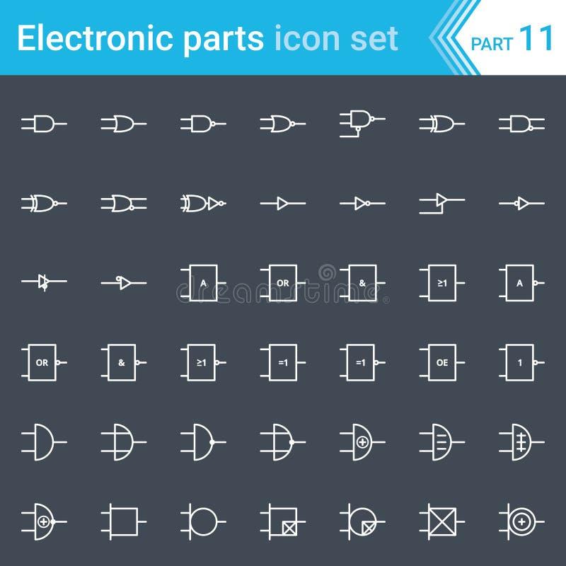 Icônes électriques et électroniques, symboles électriques de diagramme L'électronique de Digital, système de norme ANSI de porte  illustration stock