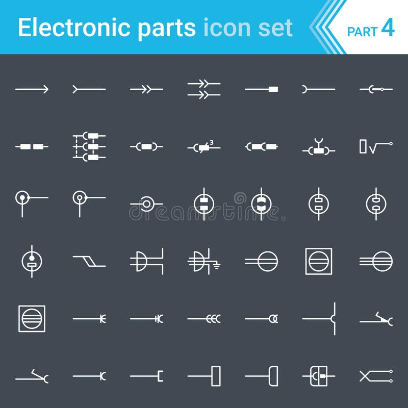 Icônes électriques et électroniques, symboles électriques de diagramme Prises électriques, prises, prises et cric illustration de vecteur