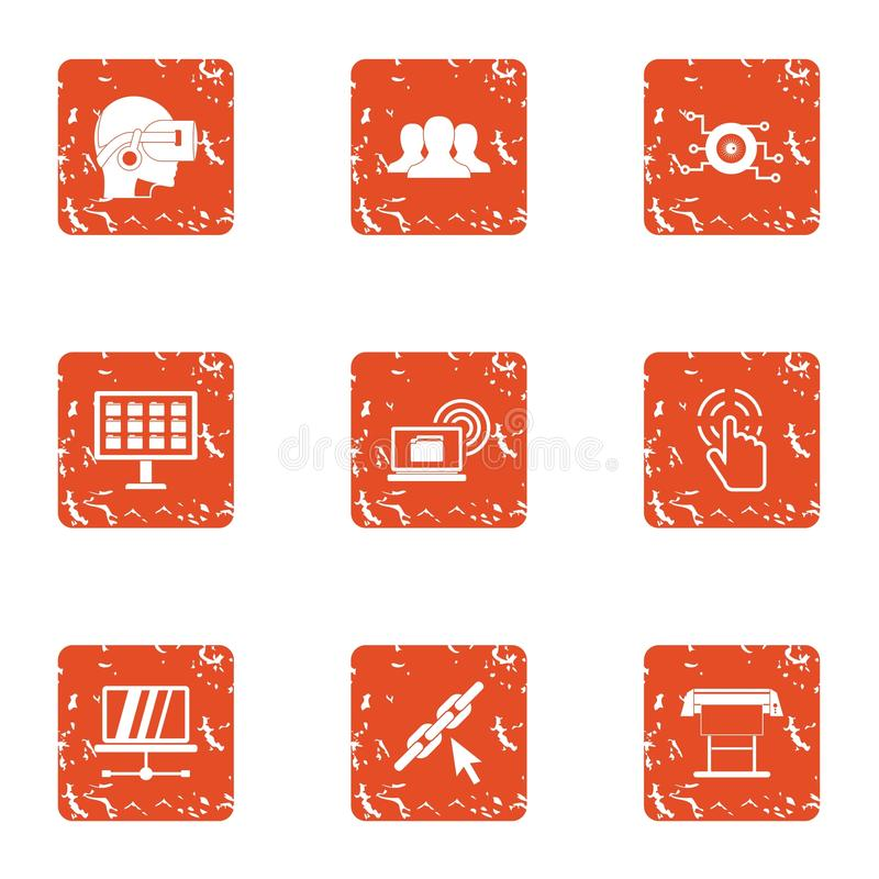Icônes élevées d'adaptabilité réglées, style grunge illustration stock