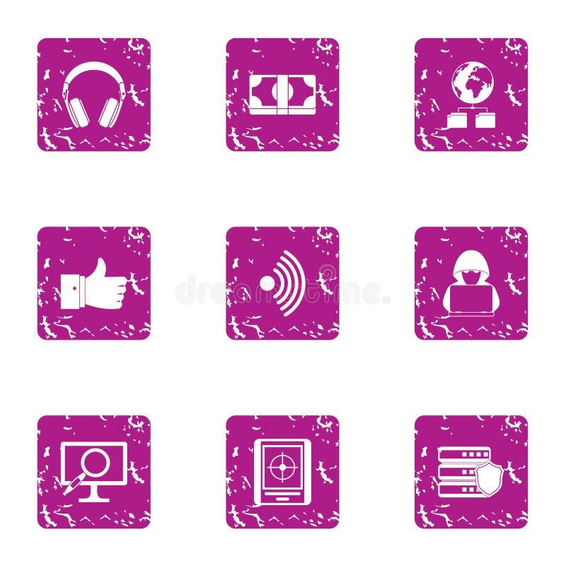 Icônes élevées d'adaptabilité réglées, style grunge illustration de vecteur